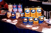Canned seafood display